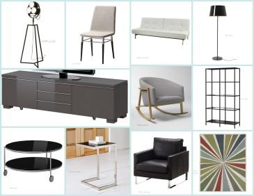Miami Beach Bachelor Pad Living Room Area Inspiration Board by Haute Decor Designs