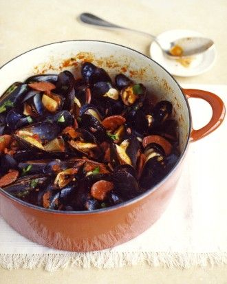 Spicy Mussels and Chorizo, Recipe and Image via Martha Stewart
